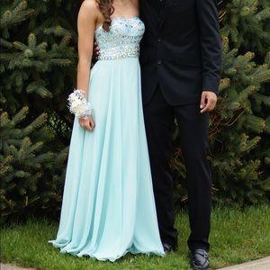 Morilee Madeline Gardner teal blue prom dress